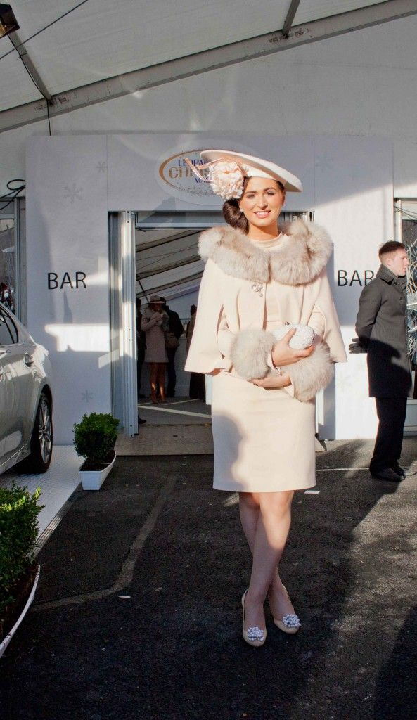 Cream winter race day outfit