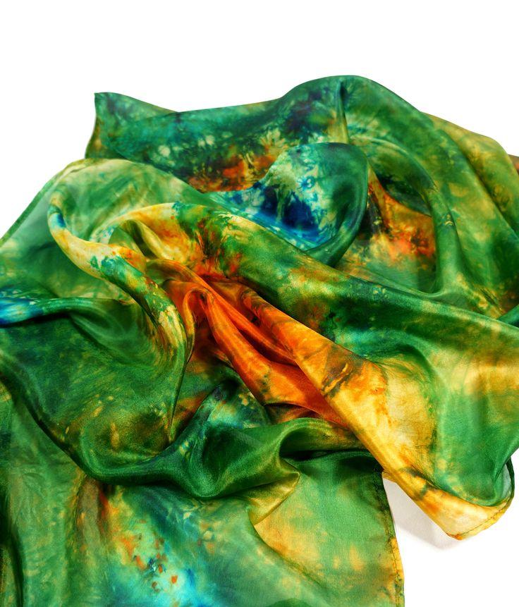 silk scarf, silk shawl, wrap scarf, hand dyed scarf - Feltmondo by Feltmondo on Etsy