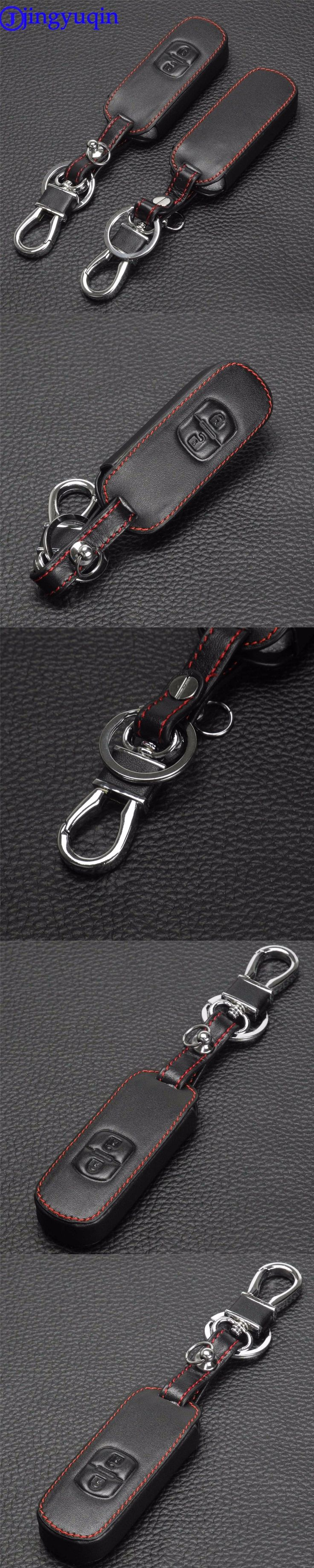 jingyuqin Remote 2 Buttons Leather Car Key Fob Cover Case For Mazda 2 / 3/ 5/ 6 CX-3 CX-4 CX-5 CX-7 CX-9 Atenza Axela MX5