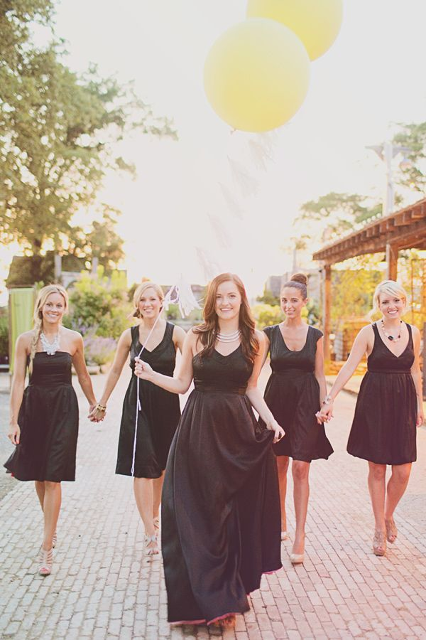 black bridesmaid dresses // photo by Jacquelyne Mae Photography // View more: http://ruffledblog.com/bridal-shower-luncheon-inspiration/