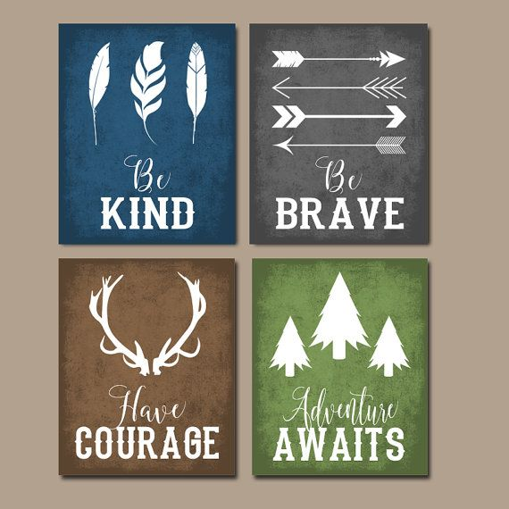 woodland quote wall art canvas or print boy nursery decor tribal nursery be brave be kind have courage woodland sayings set of 4 - Decorate Boys Bedroom