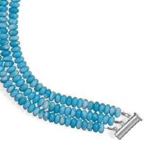 "7.25"" Triple Strand Larimar Bracelet"