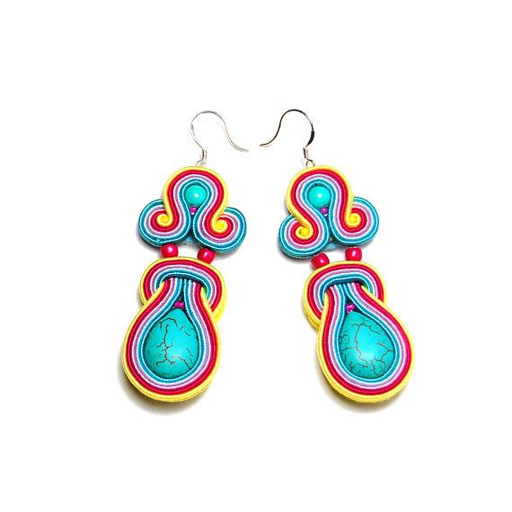 Soutache earrings turquoise pink yellow jewelry handmade gift