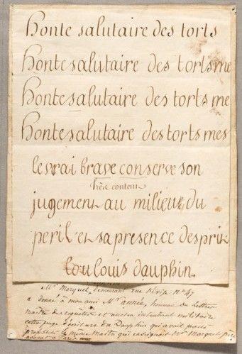 plusieurs exemple d'écriture du dauphin fils de Louis XVI enfant (exemple de comment il faudrait écrire/ par rapport à comment écrivent les gens dans leurs lettres)