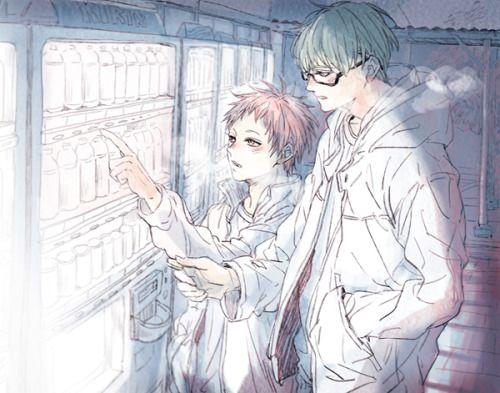 冬が似合うふたり。 緑間も赤司も大学生くらいで緑間の母親の車を交代で運転しながら東京へ帰る途中深夜のSAで休憩する、って脳内設定の・・・もとに・・・・楽しく描いていました・・・・・大人になってもふつうに仲良さそうというか、ベタベタした付き合いじゃなくてソーシャルな感じで、目的地が同じだから、とかそういう理由だけで一緒に車出したりしてくれたら嬉しいです、ボンボンだって免許とったら自分で車転がしたい・・・はず・・・・!運転は赤司くんの方が上手いけど緑間くんの方が安全だと思います、赤司くんすぐ法定速度ぶっちぎるから・・・・・(´・_・`)
