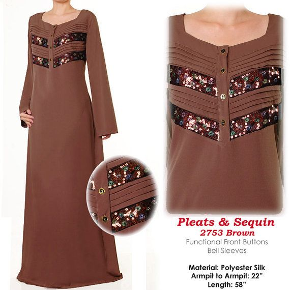 US$34 FREE SHIPPING WORLDWIDE  Pleats & Sequins Brown Islamic Muslim Abaya Maxi Dress by MissMode21