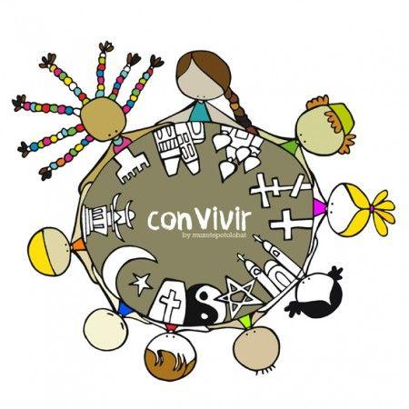 """Lámina """"convivir"""" Tiempo para escuchar(nos). Compartir. (Re)conocer(nos)…"""