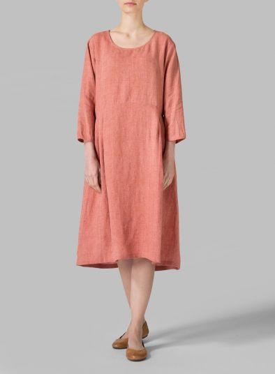 MISSY Clothing - Linen Empire Waist Midi Dress