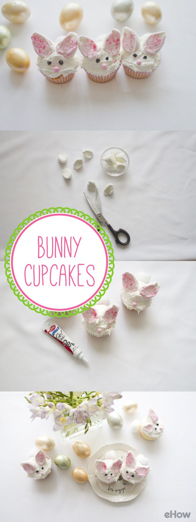 These adorable bunny cupcakes are must for your Easter gathering or any spring occasion that calls for desserts! The cute little ears and cotton tails are a fun way to transform an ordinary cupcake into something irresistibly cute. You can either use a boxed cupcake mix for this decorating project, or go one step further and make homemade cupcakes! http://www.ehow.com/list_5985049_bunny-cupcake-ideas.html?utm_source=pinterest.com&utm_medium=referral&utm_content=freestyle&utm_campaign=fanpage