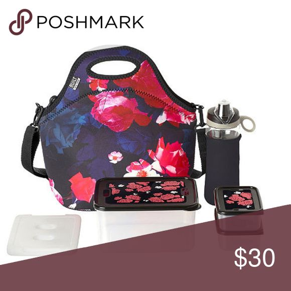 Built NY 10-Piece Neoprene Insulated Lunch Bag Set Midnight Roses Pattern! Fashion & function with insulating neoprene to keep your food at the perfect temperature. Flexible and long-lasting tote is machine washable! Plastic food containers are dishwasher, microwave and freezer safe! This 10-piece set includes 1 large food container with lid 8-cup capacity, 2 small food containers with lids 1.3-cup capacity each, 1 Tritan water bottle with neoprene sleeve 16 oz, and 1 reusable ice pack. Hard…