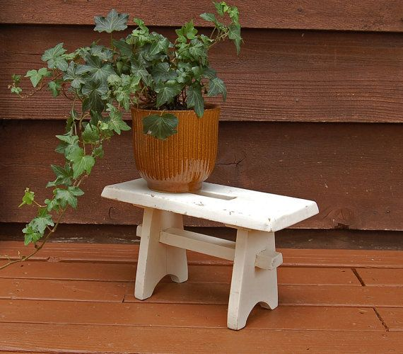 Small Wooden Bench Vintage Painted Stool by PineSpringsCottage