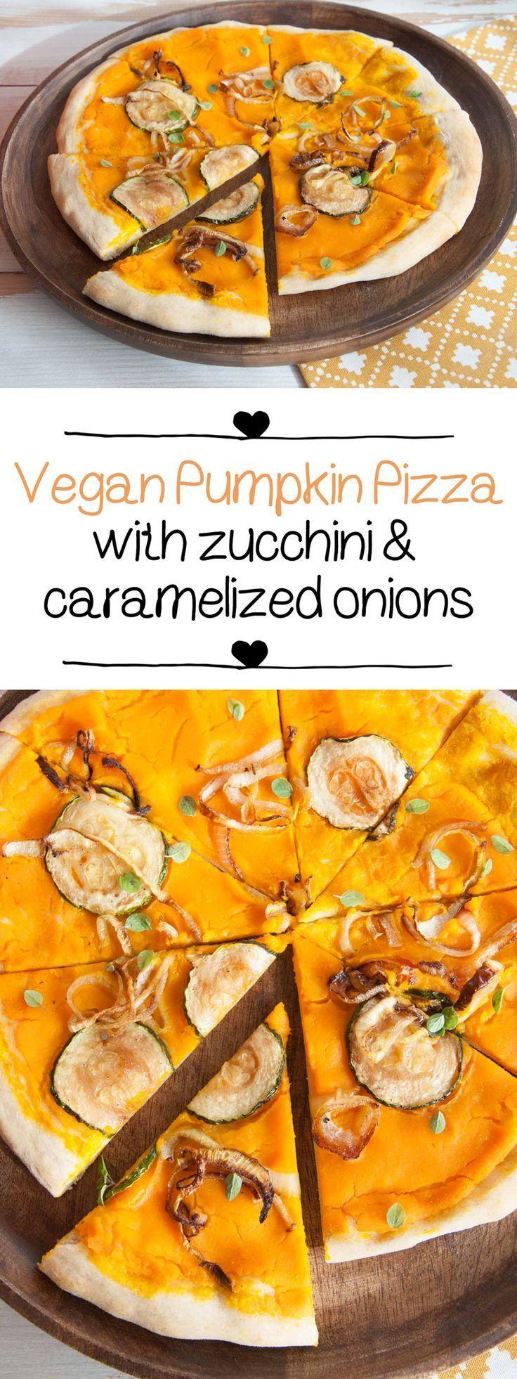Vegan Pumpkin Pizza with zucchini and caramelized onions | http://ElephantasticVegan.com