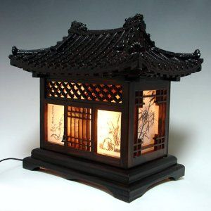 Wood Lamp Shade Handmade Traditional Korean House Design Art Lantern Brown Asian Oriental Decorative Bedside Bedroom Accent Unusual Home Decor Table Light: Amazon.co.uk: Kitchen & Home