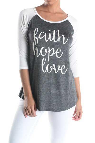 Lovely Souls Faith Hope Love Baseball Tee for Women T6593-1-FAITHHOPE