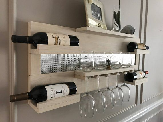 Stunning Rustic Pickled Stained Wall Mounted Wine and Liquor