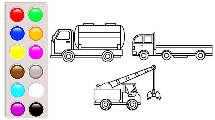 Water tank, dump truck and crane truck coloring pages, Construction truc...