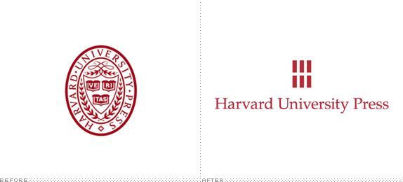 Harvard University Press Logo, Before and After.  Harvard University Press has introduced a new logo designed by New York, NY-based Chermayeff & Geismar. 2013
