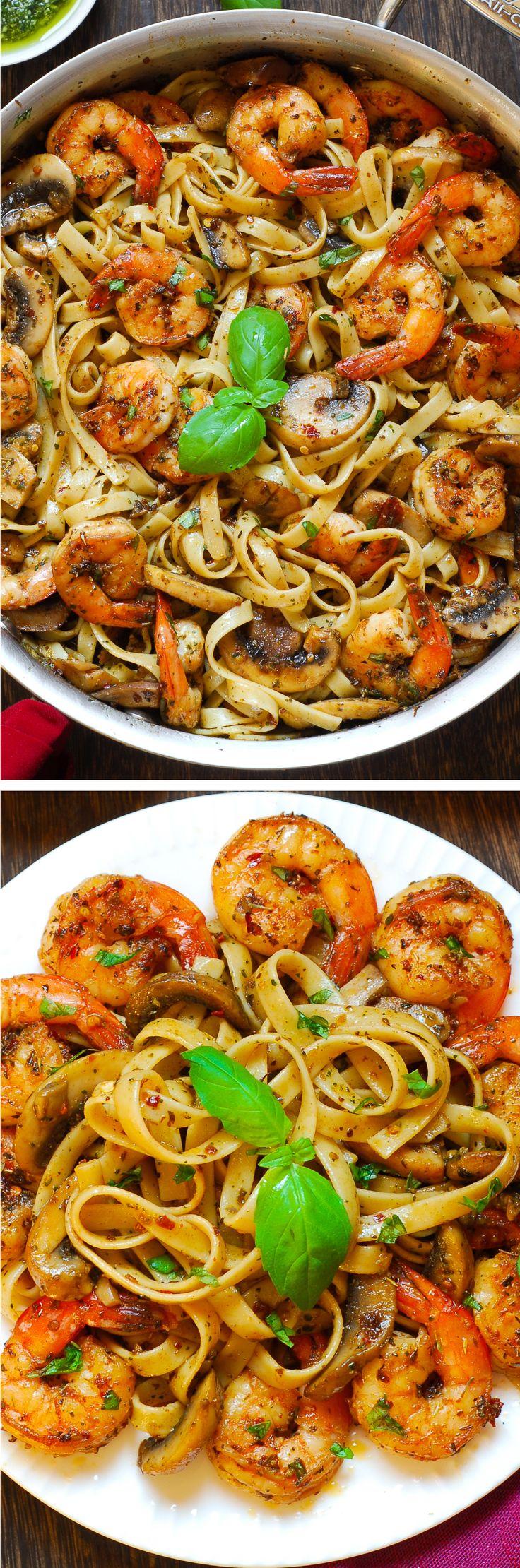 Pesto Shrimp Pasta #seafood #pasta