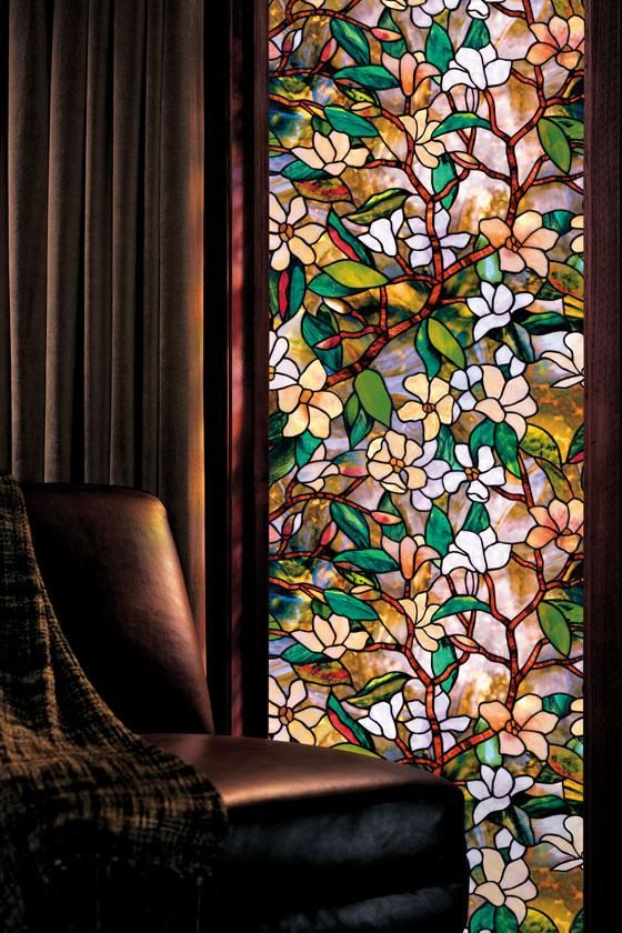 vinyl stained glass window film; I've used this product myself several times in different patterns, and have absolutely loved the result every time! And of course it's way cheaper than actual stained glass. This particular site has it for $25, but I bought it locally at Home Depot.