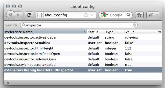 disable firefox native inspector at about:config