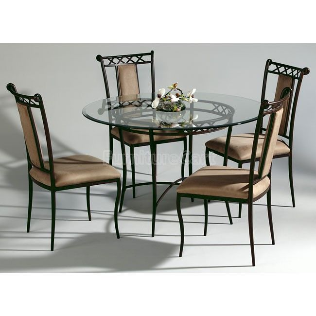 Rod Iron Table And Chairs Part - 39: Wrought Iron Round Dining Room Set Chintaly Imports Furniture Cart Alluring  Pleasing