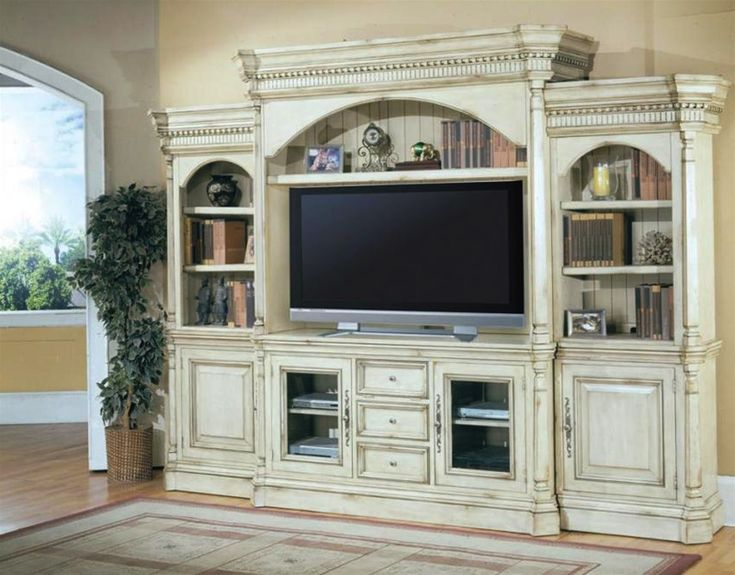 Westminister 62-Inch TV 5PC Wall System in Vintage Cream Crackle Finish by Parker House – 600-5WS