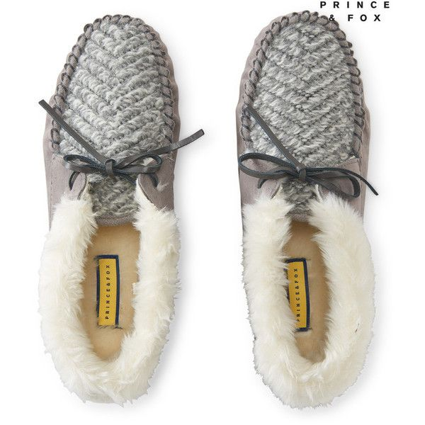 Aeropostale Prince & Fox Faux Fur Cuff Moccasin (£13) ❤ liked on Polyvore featuring shoes, loafers, pipe grey, grey moccasins, gray moccasins, gray shoes, mocassin shoes and moccasin style shoes