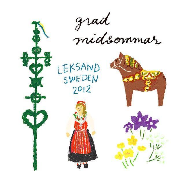 Grad midsommar! 北欧は夏至祭。@_shiemi さんのインスタを見てレクサンドの夏至祭が懐かしくなりました。メイポールの周りでみんなでフォークダンスしたこと。夏至の花を3種類野原で摘んだこと。哀しい眼をしたダーラヘストを見つけたこと。もう3年も前のこと!  #illustration #illustagram #midsommar #sweden #leksand #北欧 #夏至祭 #夏至 #絵日記 #イラスト #民族衣装 #dalahast #ダーラナホース #flower