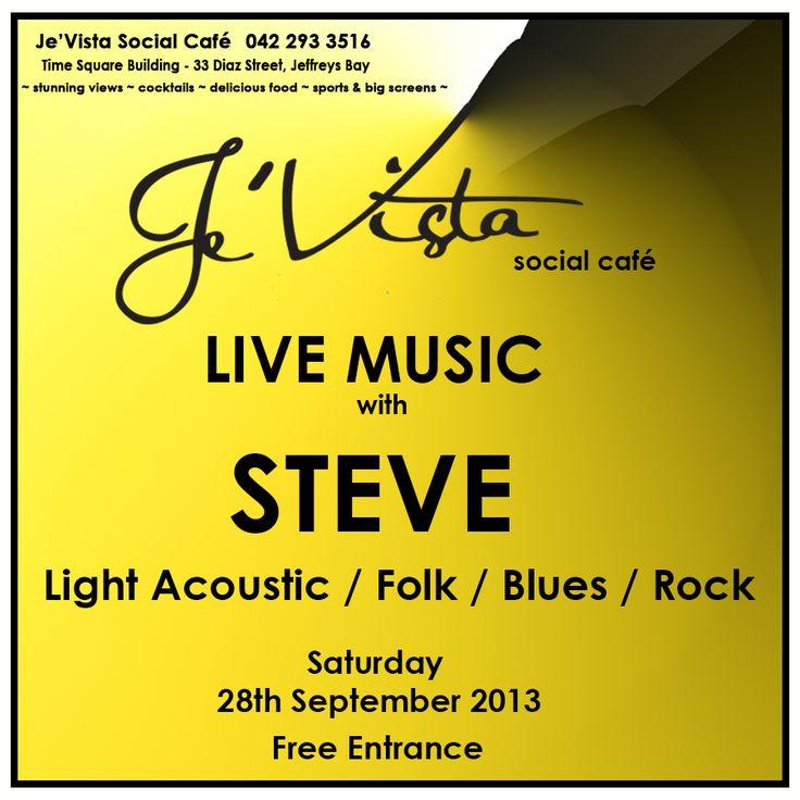 Join us for LIVE MUSIC Saturday night with Steve - light acoustics / Folk / Blues / Rock. Free entrance #jevista #livemusic #jeffreysbay #blues #folk #rock