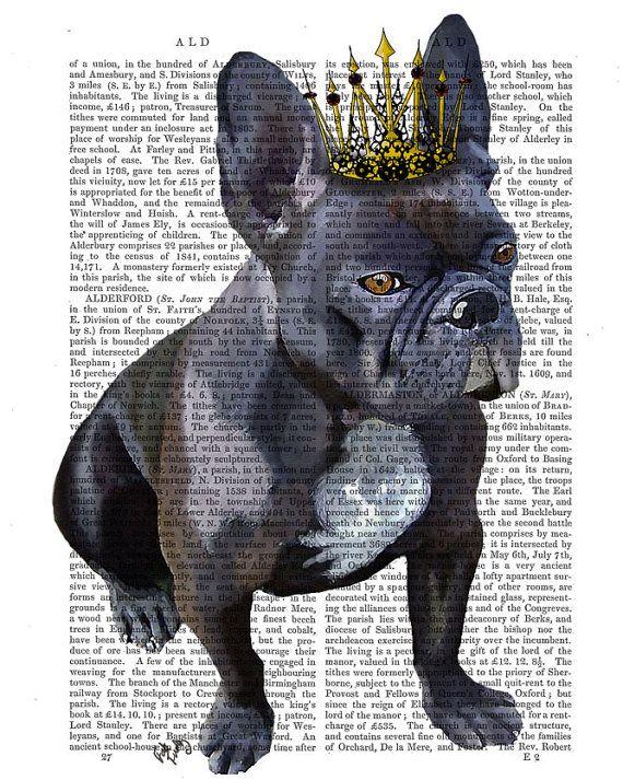 French Bulldog King dog poster dog wall decor dog by FabFunky