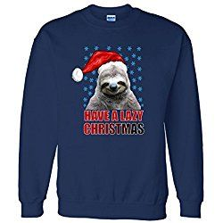 Sweater: Have A Lazy Sloth Christmas navy XL