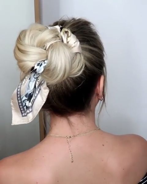 Messy Updo with a Scarf / Hairstyles 2019