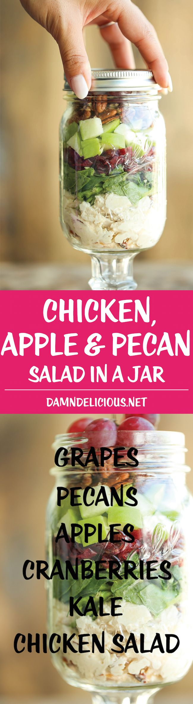 Chicken, Apple and Pecan Salad in a Jar Easy, portable salads that can be made ahead for the week - they stay fresh so you never have a soggy salad again!