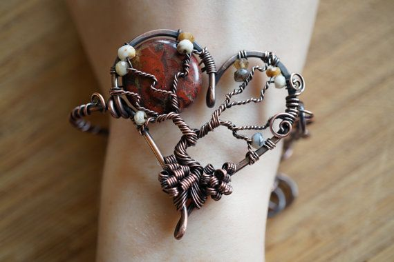 Heart Tree of Life Bracelet Dendridic Opal Red by OurFrontYard