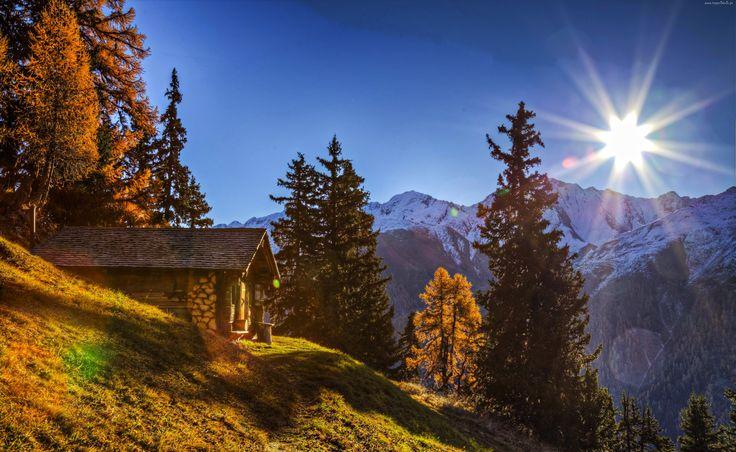 Alpy, Dom, Promienie, Słońca, Szwajcaria