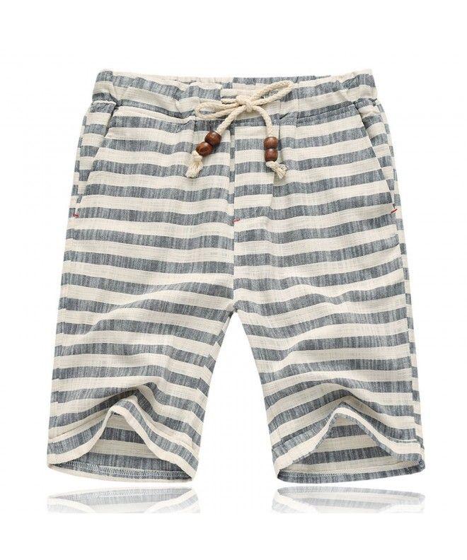 b1491be9f0 Men's Summer Casual Linen Drawstring Striped Beach Shorts - Grey ...