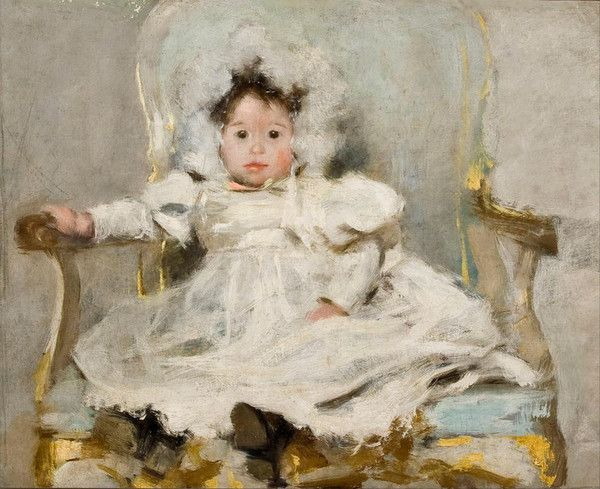 Portrait of a girl in white by Carlos Baca-Flor Soberón (1867–1941), Peruvian/lived in France (vintprint)