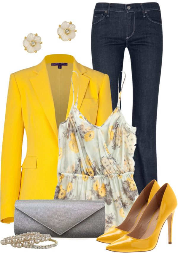 """Yellow Blazer"" by qtpiekelso on Polyvore"