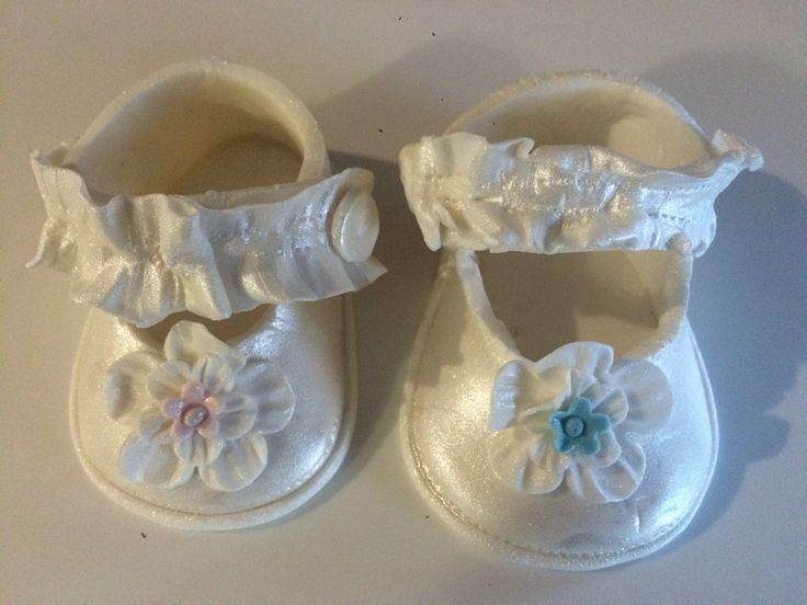 Satin baby shoes cake toppers
