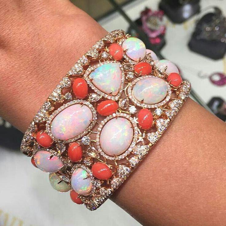 @bahrainjewellerycentre - Opal & Coral Cuff #Bjc #MariaGaspari