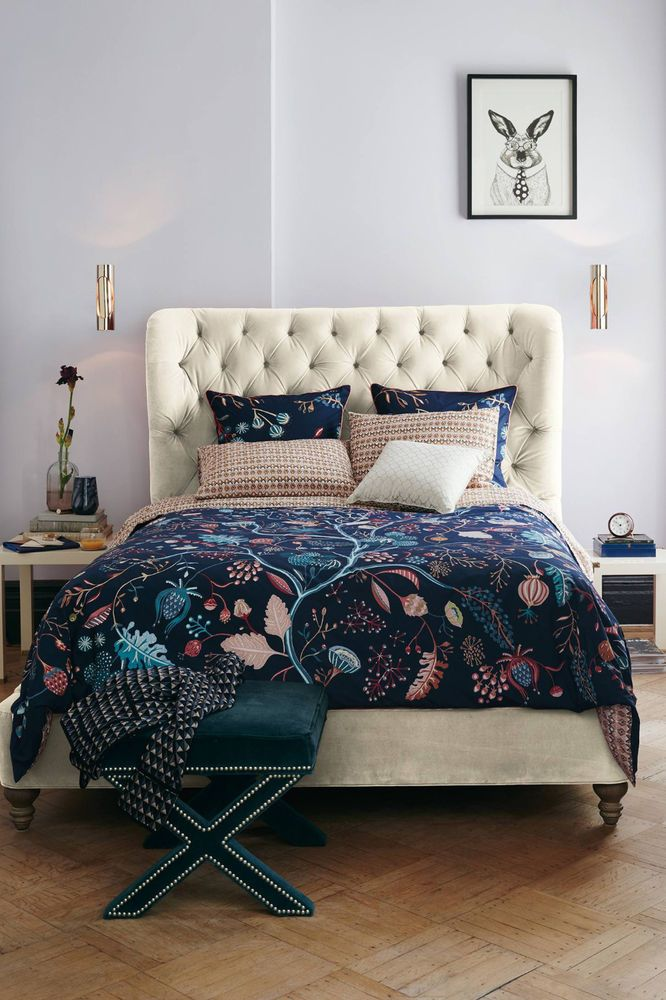 NEW Anthropologie Nelia Duvet Cover Queen Size Cotton Navy Floral NWT #Anthropologie