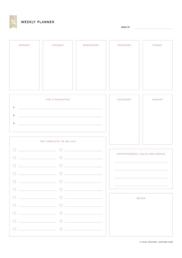25+ unique Weekly planner printable ideas on Pinterest Weekly - free weekly calendar
