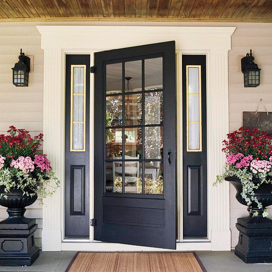 ~ 20 ways to add curb appeal...great ideas!: The Doors, Black Doors, Color, Black Front Doors, Frontdoor, Curb Appeal, Planters, Front Entry, Front Porches