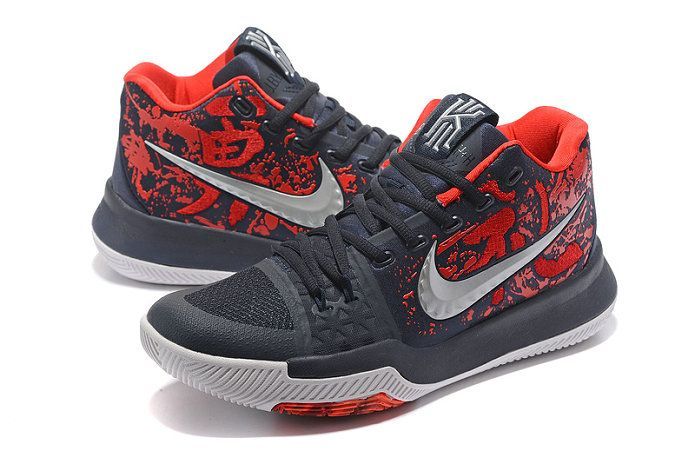 pretty nice aa331 8468f Mens Original Nike Zoom Kyrie 3 Basketball Shoes Samurai Online Navy Blue  Red Silver White
