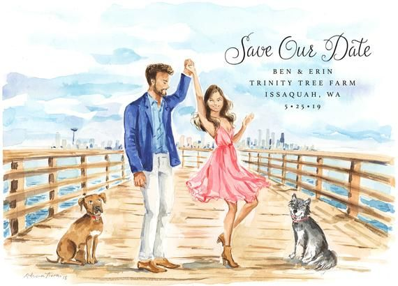 Romantic Beach Groom /& Bride Personalized Wedding Save The Date Cards