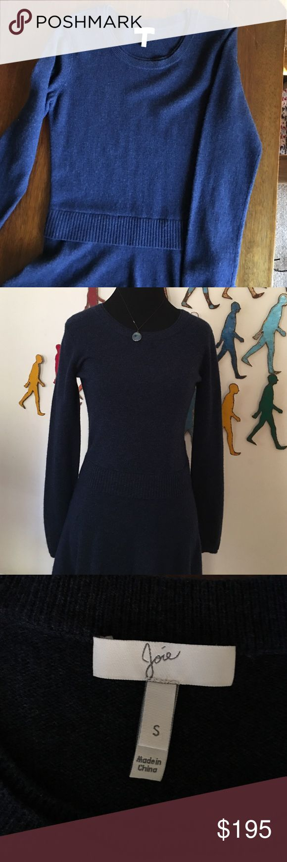 "NWOT S Navy wool/cashmere Joie dress Softest flattering dress in amazing navy color. Never worn.  Waist detail with flare bottom. Shoulder to hem 37"". Joie Dresses"
