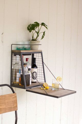 """Wall Bar w/Fold Down Shelf 15"""" x 8.5"""" x 17.5""""t Please be aware that some products are handmade and unique therefore there may be slight variations in each individual product. Sorry, shipping on this i"""