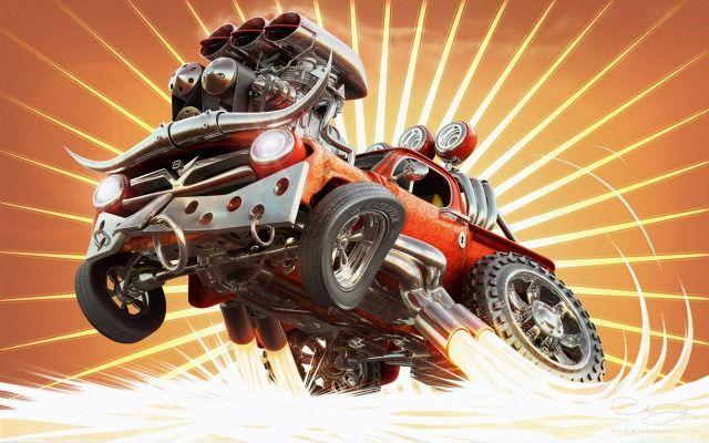 hot art | Like a bull Picture (3d, cartoon, car, intense, energy, hot rod)