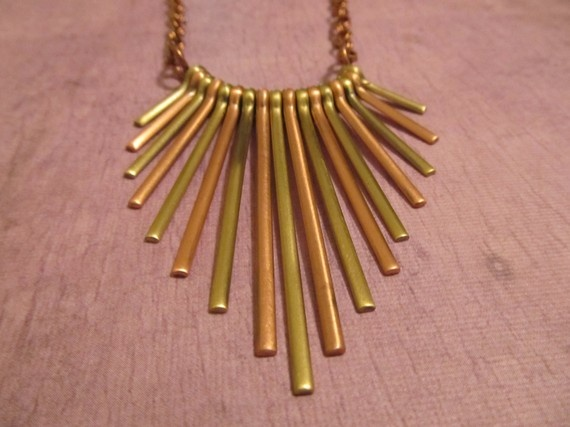 Brass and Copper Fan Necklace by AccessoriesByAngie on Etsy, $12.00