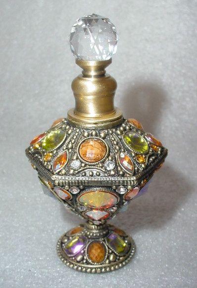 New, vintage style multi-coloured crystals perfume bottle.